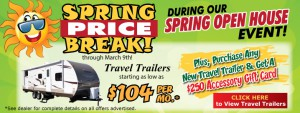 spring travel trailer sale