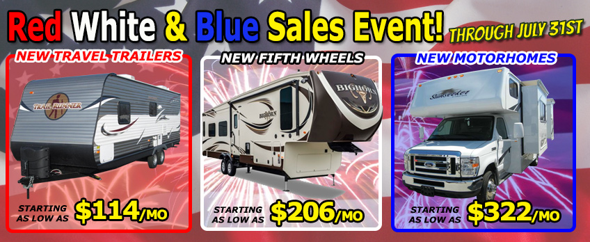 red, white and blue sales event