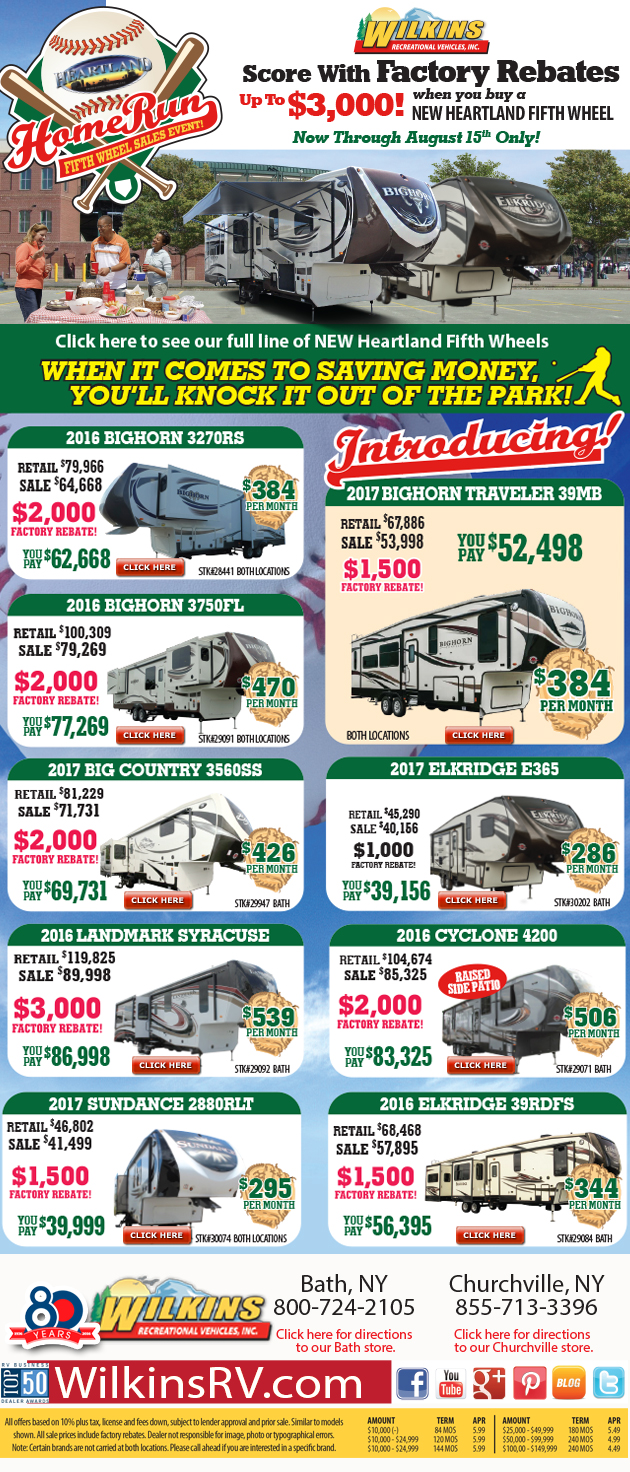 heartland fifth wheel sale Wilkins RV