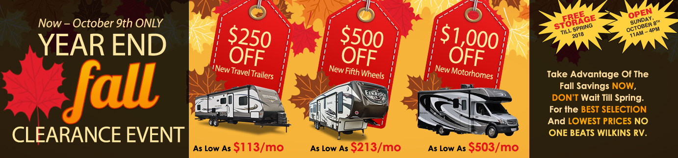 Wilkins RV Fall Clearance