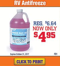 Wilkins RV Parts and Service Antifreeze Sale