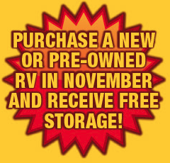Wilkins RV Fall Sale Free Storage