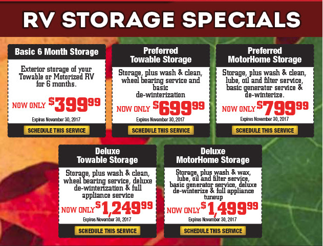 Wilkins RV Fall Sale Storage Specials