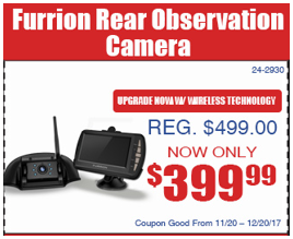 Wilkins RV Christmas Parts Specials Coupons Back Up Camera