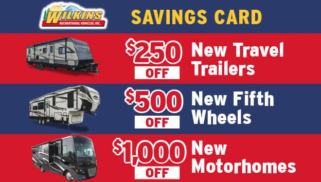 Wilkins RV Memorial Day Sale Savings Card